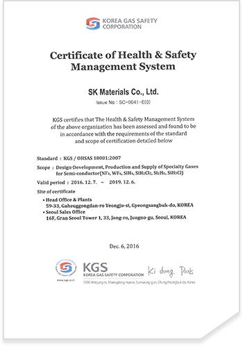 OHSAS 18001 Certificate of Health & Safety Management System